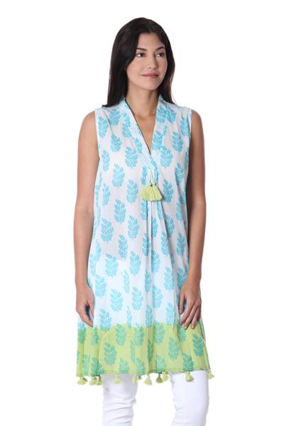 Sleeveless 100% Cotton Turquoise on White Printed Sundress