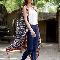 Cotton kimono vest, 'Magical Bliss' - Black Grey and Orange Sleeveless Ikat Print Kimono Jacket