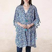 Short cotton caftan, 'Blue Resort' - Blue and White Diamond-Shaped Tasseled Cotton Caftan