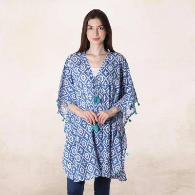 Short cotton kaftan, Blue Resort