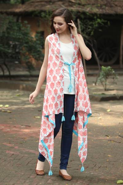 Cotton kimono vest, 'Strawberry Flowers' - Red and Turquoise Floral Screen Print Kimono