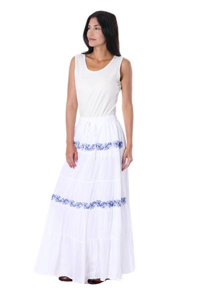 White Cotton Long Skirt with Blue Embroidered Floral Pattern