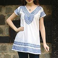 Cotton tunic, 'Blue on White Elegance' - White Cotton Tunic with Indian Embroidery Designs in Blue