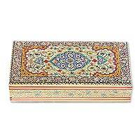 Wood decorative box, 'Persian Beauty' - Floral Motif Wood Decorative Box from India