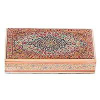 Wood decorative box, 'Persian Celebration' - Hand-Painted Floral Wood Decorative Box from India