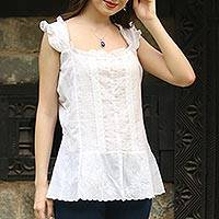 Cotton blouse, 'Summer Lace' - Embroidered Cotton Blouse in White from India
