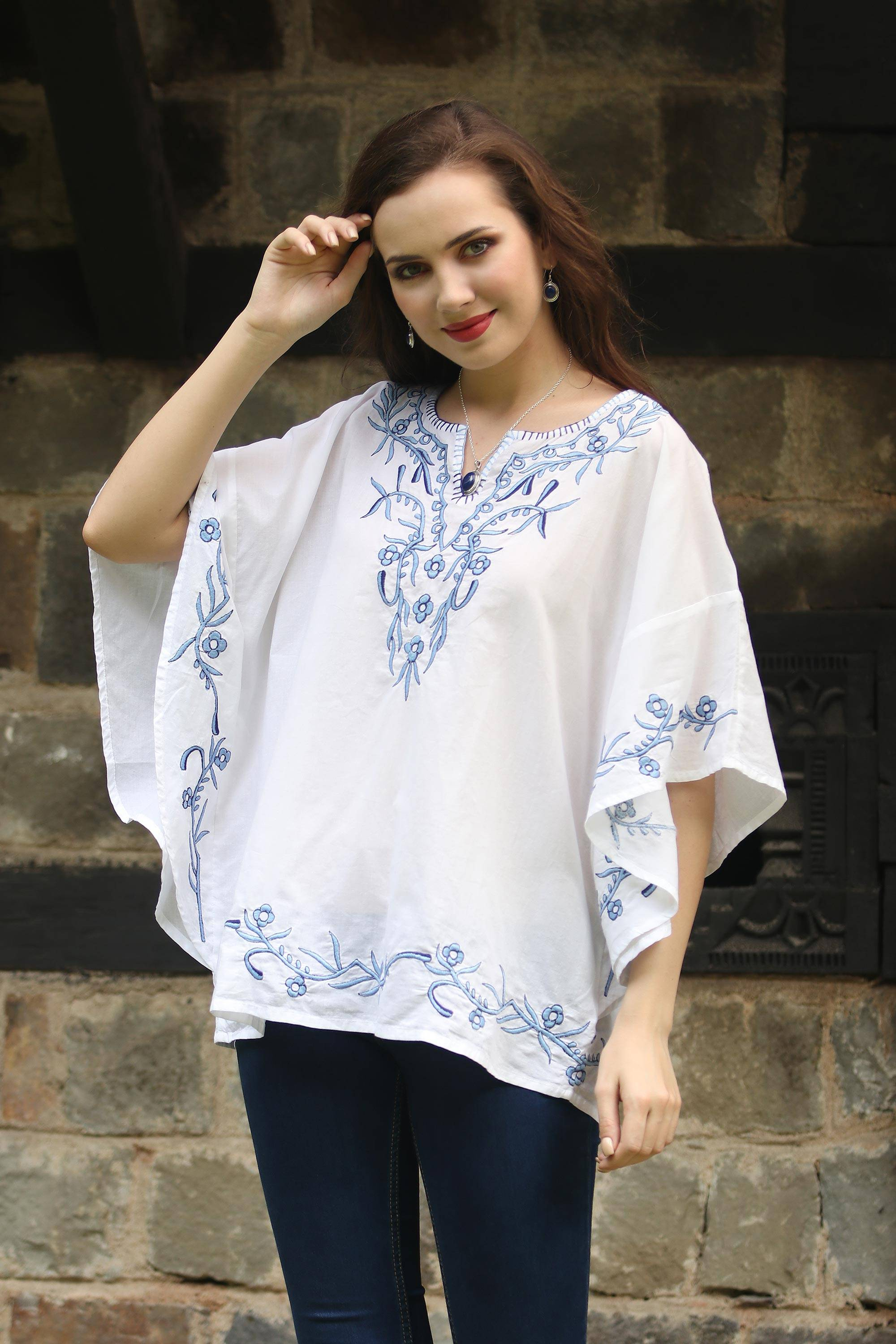 top Lucknow Chikankari Pure Cotton White blouse tunic//Multicolor Hand Embroidery//DESIGNS MAY VARY