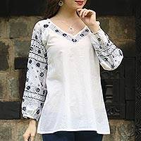 Cotton tunic, 'Midnight Bloom' - Long Sleeve Floral White Tunic Hand Embroidered in India