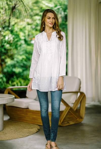 Cotton blouse, 'Ethereal Bloom' - Long Sleeve Floral White Blouse Hand Embroidered in India