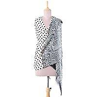 Wool shawl, 'Polka Bliss' - Wool Shawl in Ivory and Black from India