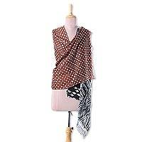 Wool shawl, 'Bold Fusion' - Two-toned Wool Shawl with Brown and Black Geometric Patterns