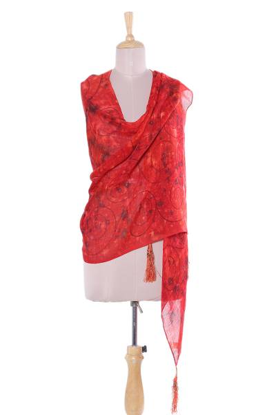 Wool shawl, 'Poppy Fire' - Hand-Painted Wool Shawl in Poppy from India