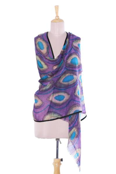 Wool shawl, 'Watchful Violet' - Hand-Painted Wool Shawl in Violet from India