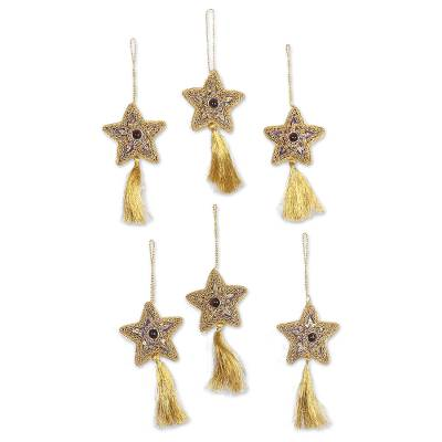 Glass beaded ornaments, 'Purple Song' (set of 6) - Glass Beaded Star Ornaments from India (Set of 6)