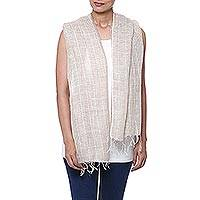 Linen scarf, 'Magical Delight in Taupe' - Handwoven Linen Wrap Scarf in Taupe from India