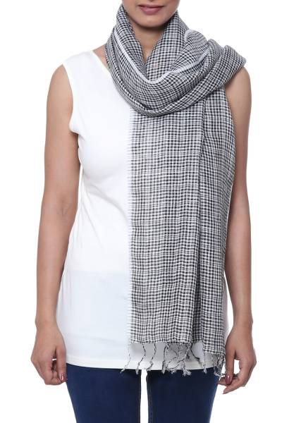 Linen scarf, 'Magical Delight in Black' - Handwoven Linen Wrap Scarf in Black from India