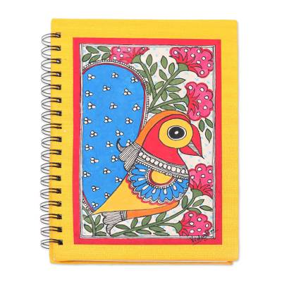 Paper journal, 'Joyful Peacock' - Paper Journal with Signed Madhubani Peacock Painting