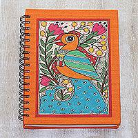 Paper journal, 'Spring Bliss' - Paper Journal with Signed Madhubani Bird Painting from India
