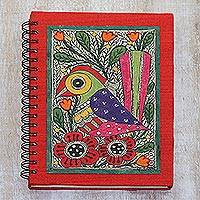Paper journal, 'Joyful Song' - Handmade Paper Journal with Signed Madhubani Bird Painting