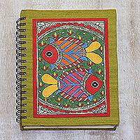 Madhubani painting journal, 'Vibrant Fish' - Handmade Paper Journal with Signed Madhubani Fish Painting