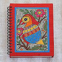 Handmade paper journal, 'Garden Bird' - Handmade Paper Journal with Cover Painting of Garden Bird