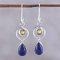 Lapis lazuli and citrine dangle earrings, 'Gleaming Midnight' - Lapis Lazuli and Citrine Dangle Earrings from India