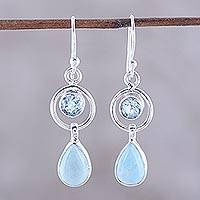 Larimar and blue topaz dangle earrings, 'Gleaming Daylight' - Larimar and Blue Topaz Dangle Earrings from India