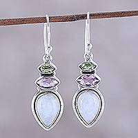 Multi-gemstone dangle earrings, 'Gemstone Allure' - Multi-Gemstone Dangle Earrings from India