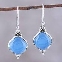 Chalcedony dangle earrings, 'Gleaming Grandeur' - Chalcedony Dangle Earrings from India