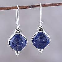 Lapis lazuli dangle earrings, 'Gleaming Grandeur' - Lapis Lazuli Dangle Earrings from India