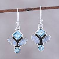 Blue topaz and rainbow moonstone dangle earrings, 'Glitzy Blue' - Blue Topaz and Rainbow Moonstone Dangle Earrings from India