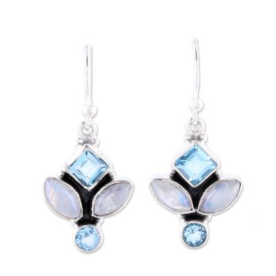 Blue Topaz and Rainbow Moonstone Dangle Earrings from India