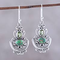 Peridot dangle earrings, 'Green Swing' - Peridot and Green Composite Turquoise Earrings from India