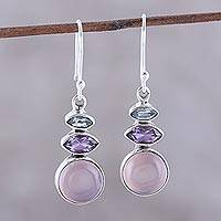 Multi-gemstone dangle earrings, 'Peaceful Dazzle in Pink' - Multi-Gemstone Dangle Earrings in Pink from India