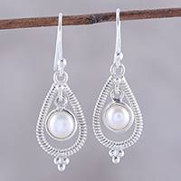 Cultured pearl dangle earrings, 'Coiled Drops' - Drop-Shaped Cultured Pearl Dangle Earrings from India