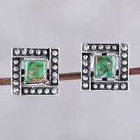 Sterling silver stud earrings, 'Beautiful Windows in Green' - Square Green Composite Turquoise Stud Earrings from India