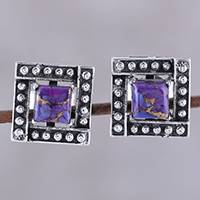 Sterling silver stud earrings, 'Beautiful Windows in Purple' - Square Purple Composite Turquoise Stud Earrings from India