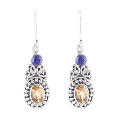 Curl Motif Citrine and Lapis Lazuli Dangle Earrings