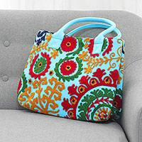 Cotton tote, 'Folk Art Florals' - Embroidered Sky Blue Floral Folk Art Cotton Handbag