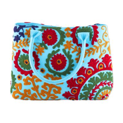 Embroidered Sky Blue Floral Folk Art Cotton Handbag