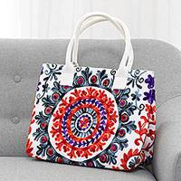 Cotton tote, 'Floral Mandala' - Chain Stitch Embroidered Cotton Tote Handbag from India