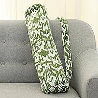 Cotton yoga mat bag, 'Green at Peace' - 100% Cotton Green and Ivory Ikat Pattern Yoga Mat Bag