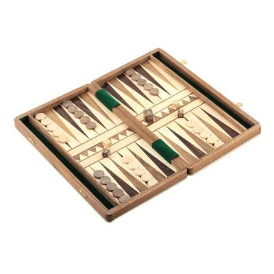 Wood backgammon set, 'Classic Match' - Wood Backgammon Set with Hand Carved Board and Pieces