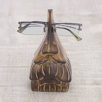 Wood eyeglasses holder, 'Mustachio' - Whimsical Mustached Face Mango Wood Eyeglasses Holder