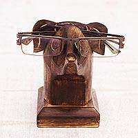 Wood eyeglasses holder, 'Elephant Eyes' - Hand Carved Brown Elephant Mango Wood Eyeglasses Holder