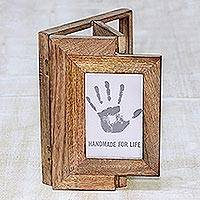 Wood photo frame, 'Magical Window' (4x6) - Handcrafted Mango Wood 4x6 Adjustable Photo Frame