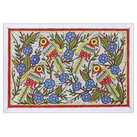 Madhubani painting, 'Friendly Chat' - Madhubani Painting of Birds in a Floral Garden from India