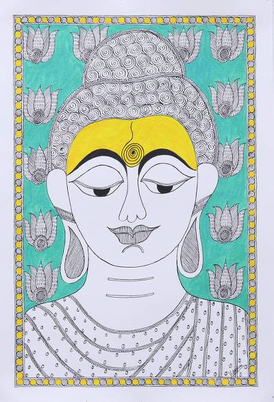 Madhubani painting, 'Buddha at Peace' - Signed Madhubani Painting of Buddha from India