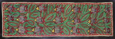 Colorful Madhubani Fish Painting from India
