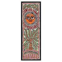 Madhubani painting, 'Flourishing Tree' - Tree and Sun-Themed Madhubani Painting from India